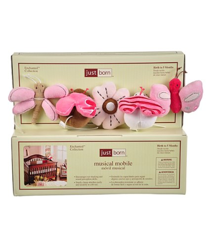 "Just Born ""Flutterby"" Musical Mobile - Pink, One Size"