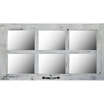 "28 X 16 (6-Pane) 2"" Barnwood Window Pane Mirror"