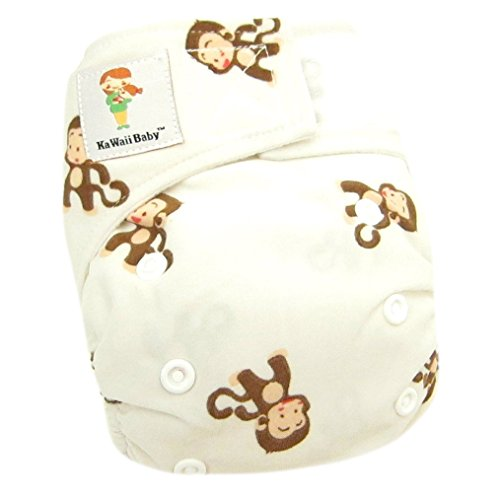 "Kawaii Baby Newborn Reusable Cloth Diaper Pure & Natural 6 - 22 Lb. With 2 Microfiber Inserts "" Monkey """