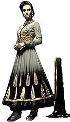 Justkartit Women's Black & Grey Classy Anarkali Style Semi-Stitched Party wear / Wedding Wear Dress Material