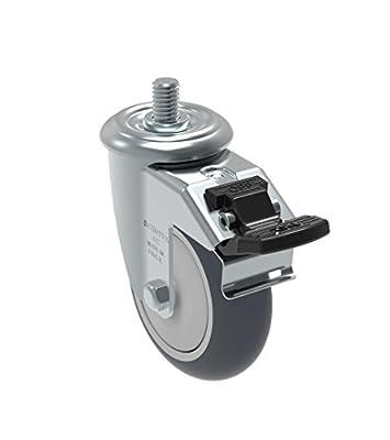 "Schioppa GLEFD 412 TBE G L12 Series 4"" x 1-1/4"" Diameter Swivel Caster with Total Lock Brake, Non-Marking Thermoplastic Rubber Precision Ball Bearing Wheel, 10 mm Diameter x 25 mm Length Threaded Stem, 220 lb"