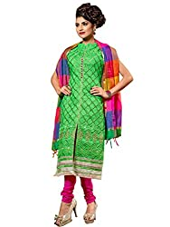 Greedy Green Coloured Embroidered Dress Material