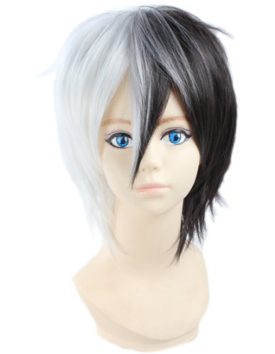 Angelaicos Unisex Two Tone Layered Cosplay Costume Party Wigs Short Black White