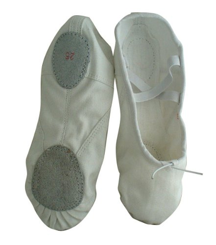 Cheap Adult White Canvas split-sole Ballet Slippers (B006OHY3X8)