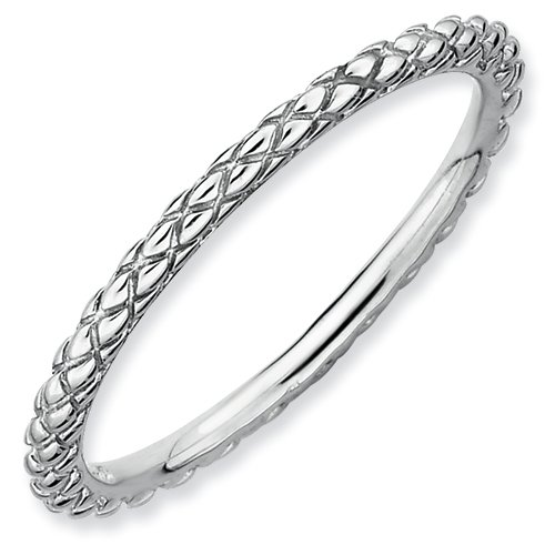 Sterling Silver Stackable Expressions Rhodium Criss-cross Ring (Size 6)