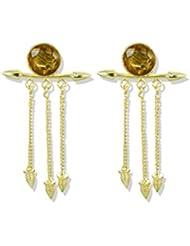 Zaveri Pearls Yellow Semi Precious Topaz Round Shape Dangler Earrings - ZPFK5060