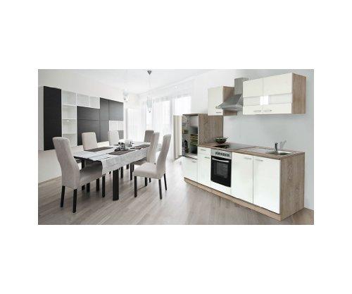 Economy Küchenzeile 270 cm eiche-weiß APL Eiche sägerau SONOMA Nachbildung Ceran - KB270ESWC