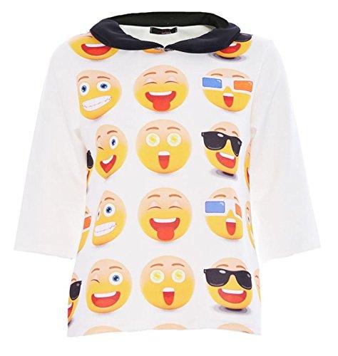 NEW WOMEN da donna EMOJI 3/4 maniche peplo PETER PAN colletto TOP T-Shirt 8-14