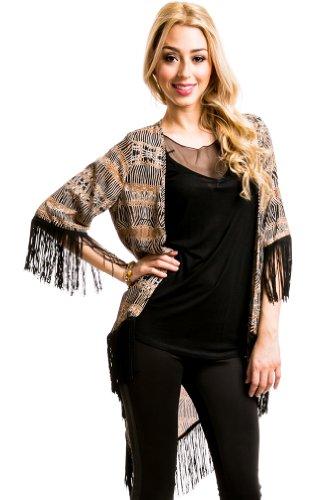 Fringed Kimono in Black/Brown