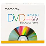 Memorex® - DVD+RW Discs, 4.7GB, 5/Pack - Sold As 1 Pack - Convenient and versatile.