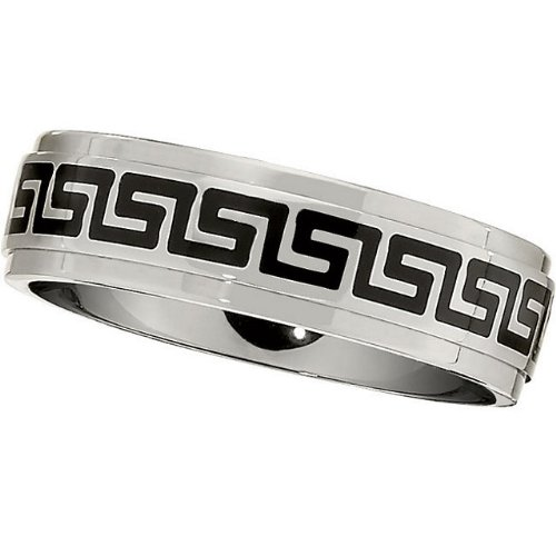 7.0mm Titanium Greek Key Ridged Band Size 13
