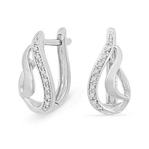 Platinum Plated Sterling Silver Round Diamond Hoop Earrings (0.08 Cttw)