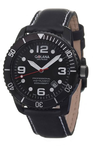 Golana Aqua Pro Black Swiss Made Divers Men's Watch AQ210-1
