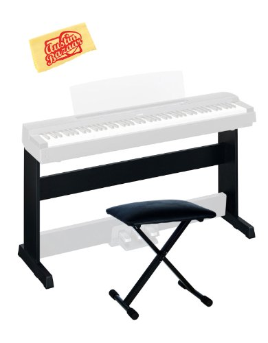 Yamaha L-255B Furniture Style Stand For The P-255B Bundle With X-Style Bench, And Polishing Cloth - Black