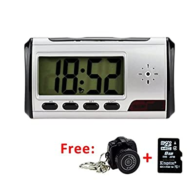 XJ-CAM Portable Spy Camera Hidden Alarm Clock Nanny Cam [with One More 640×480 Vga Hidden Web Camera and 8GB Micro SD Card]