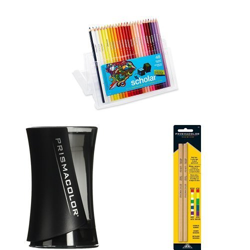 Prismacolor Scholar Colored Pencils, 48 Pack with Pencil Sharpener and Blender Pencils