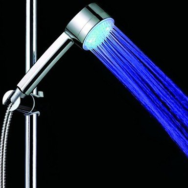Ggb- 3-Inch 4-Led 7Colors Jump Changing / Blue Shower Head (Siliver Abs) , Blue Led