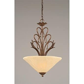 Toltec Lighting 204-BRZ-712 Swan - Three Light Pendant, Bronze Finish with Antique Ivory Glass