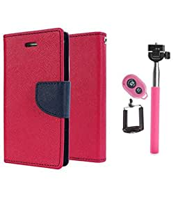 Aart Fancy Diary Card Wallet Flip Case Back Cover For Samsung A7 - (Pink) +Remote Aux Wired Fashionable Selfie Stick Compatible for all Mobiles Phones By Aart Store