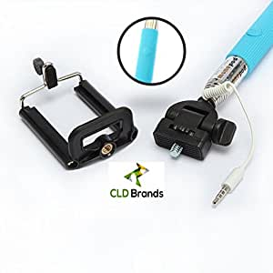 CLD Brands Best 2015 Adjustable Monopod - Built in Remote For Selfie Photos - Camera Stick - Includes Clamp Holder For iPhone and Smartphones - (LT Blue)