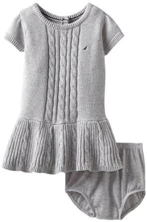 Nautica Sportswear Kids Baby-girls Infant Short Sleeve Cable Sweater Dress, Light Grey Heather, 12 Months