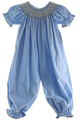 Infant Girls Blue Corduroy Romper Outfit Dress Girls Fall Clothes Petit Bebe Anavini