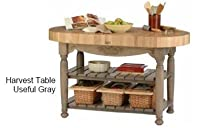 "Hot Sale Harvest Table Kitchen Island (Useful Gray Stain) (36""H x 60""W x 30""D)"