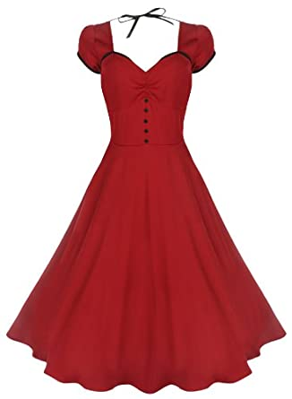 Lindy Bop 'Bella' Classy Vintage 1950's Rockabilly Style Swing Party Jive Dress (L, Red)