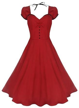 Lindy Bop 'Bella' Classy Vintage 1950's Rockabilly Style Swing Party Jive Dress (8, Red)