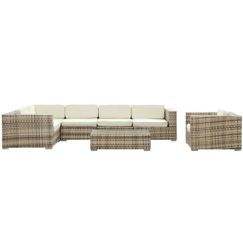 LexMod Corona Outdoor Wicker Patio 7-Piece Sectional Sofa Set in Sepia with White Cushions