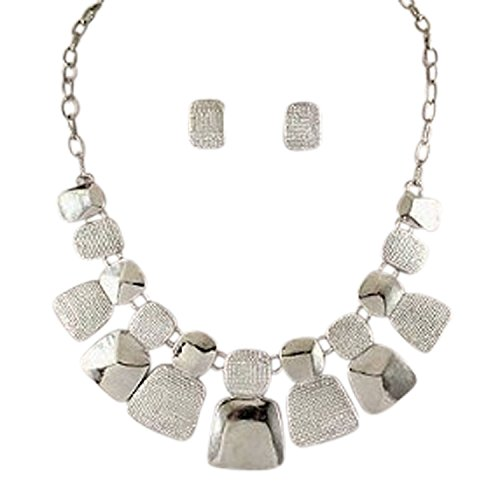 Silver Tone Tribal Tab Statement Necklace Earring Set For Women
