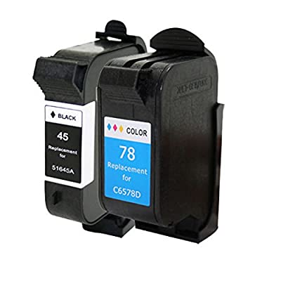 YATUNINK Replacement Ink Cartridges 1*Black+1*Color (51645A/C6578DN) For HP #45 #78 Compatible With HP OfficeJet G55 G85 G85 K60 / HP Color Copier 180 280 / FAX 1220 1220xi