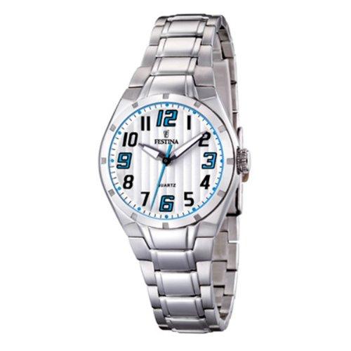 Festina F16485/6 - Reloj analógico de cuarzo para mujer con correa de acero inoxidable, color plateado
