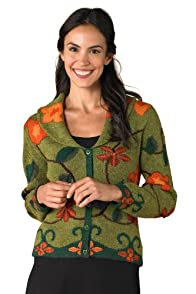 Tey-Art Rosita Intarsia Alpaca Shawl Collar Fair Trade Cardigan