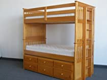 Big Sale Bedz King Captains Bunk Twin Bed over Twin with Trundle and 3 Drawers in Honey