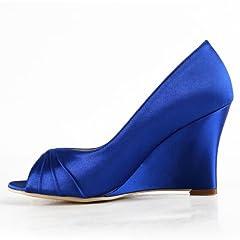 Elegantpark EP2009 Women Peep Toe High Heel Pumps Ruched Satin Evening Party Wedges Blue US 8