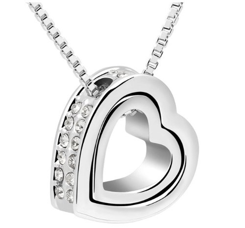 Austria Crystal double heart pendant necklace