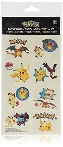 Pokemon Temporary Tattoos Party Favors, 16 Count