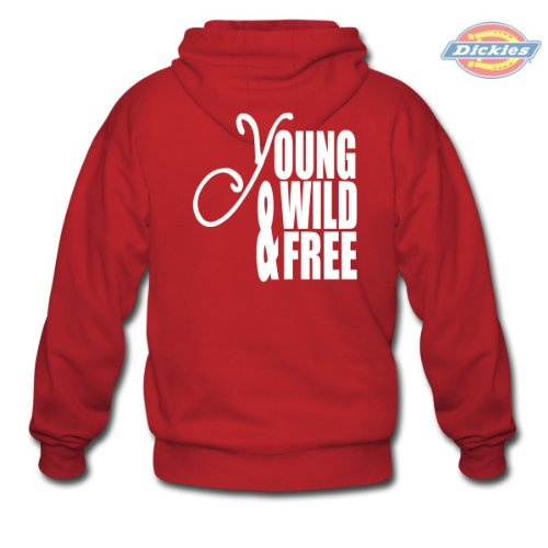 Spreadshirt, Young Wild and Free, Men's Hoodie by Dickies, red currant, M