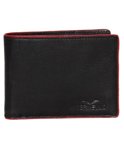 Vermello Men'S Black & Red Piping Leather Wallet - 23.5 X 9 Cm (multicolor)
