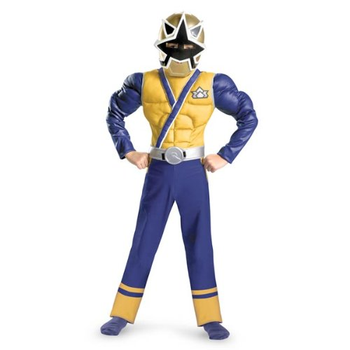 Saban'S Power Rangers Samurai Gold Ranger Classic Muscle Costume, Blue/Gold/Silver, Medium 7 - 8 (Power Rangers Gold Ranger Costume)