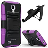 i-Blason Prime Series Dual Layer Holster Case Kick Stand Compatible with Samsung Galaxy S4 SIV S IV i9500 with Locking Belt Swivel Clip Manufactured by i-Blason (Purple)