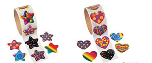 Funky Star & Heart Shape Roll Stickers 100 piece per Roll/School Supplies/Stationary/Arts & Crafts