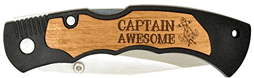 Sailing Boating Gift Captain Awesome Nautical Laser Engraved Stainless Steel Folding Pocket Knife