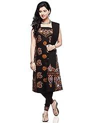 Utsav Fashion Women's Black Cotton Readymade Churidar Kameez-XX-Small