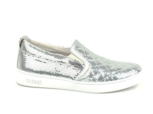 GUESS Glorienne Slip On donna paillettes ECO PELLE SILVER FLGL01SAT12 36
