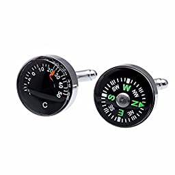 Salutto Workable Thermometer and Compass Cufflinks with Gift Box