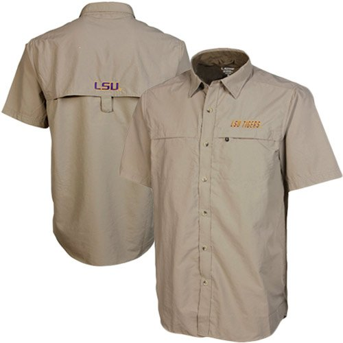 LSU Tigers Rapid Khaki Short Sleeve Button Shirt