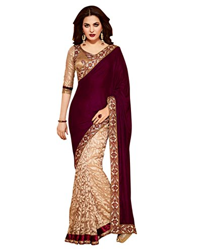 Lookslady Women's Designer Party Wear Embroidered Brasso Saree Sari Blouse