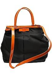 Ferragamo Women's Nylon Leather Tote Bag Black/Orange